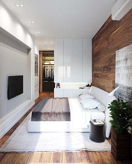 单身公寓装修卧室带衣帽间效果图