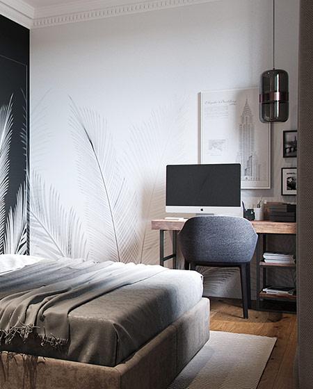 111平二居室装修卧室书桌图