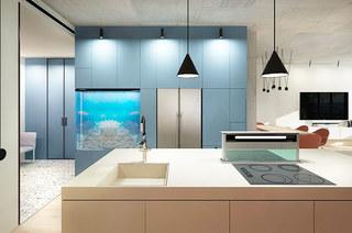 120平公寓装修厨房吧台图片