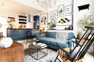 60平北欧小公寓装修双人沙发图片