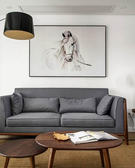 150平新中式装修灰色沙发客厅效果图