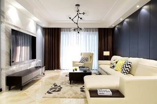130平简约三房装修客厅效果图