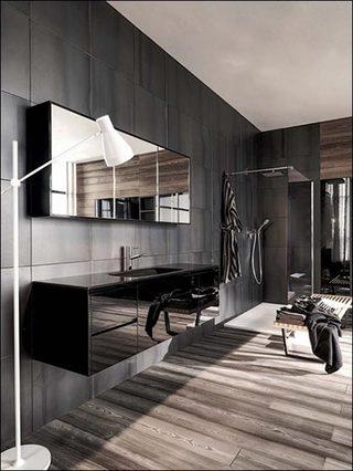黑色系浴室布置摆放图