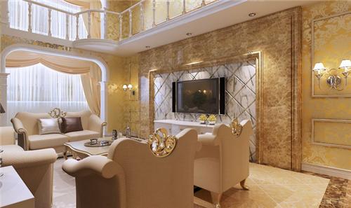 欧式复式装修效果图 复式楼奢华欧式装修设计案例