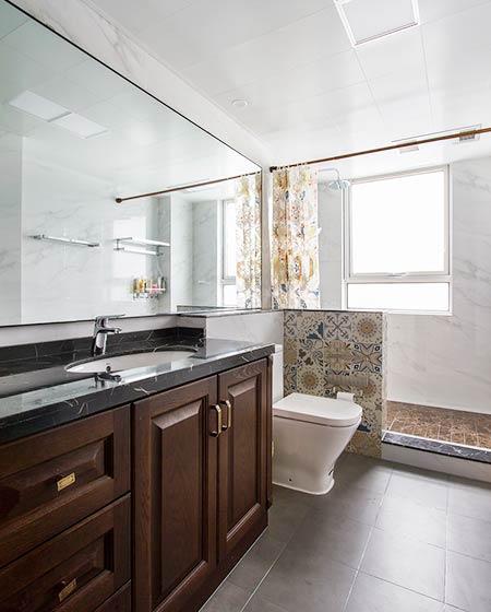 104平中式三居室干湿分离卫生间