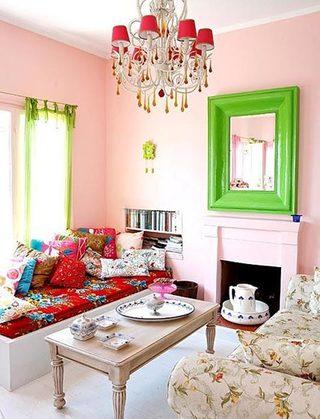 粉色系客厅设计参考图