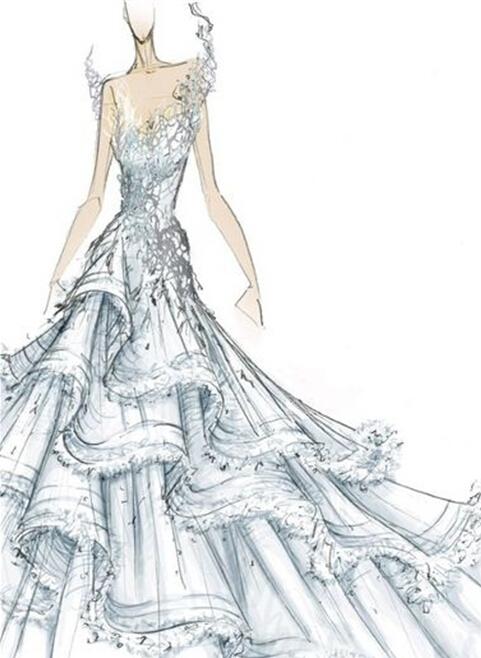 设计婚纱礼服 手绘婚纱礼服设计图