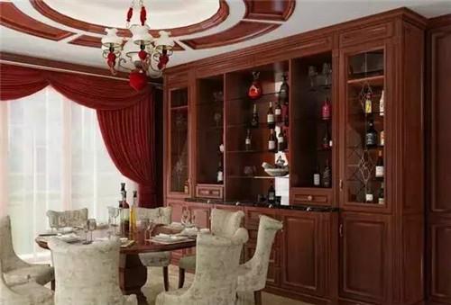 这款酒柜效果图的设计拥有非常精致的纹理设计,将中式酒柜的文化演绎