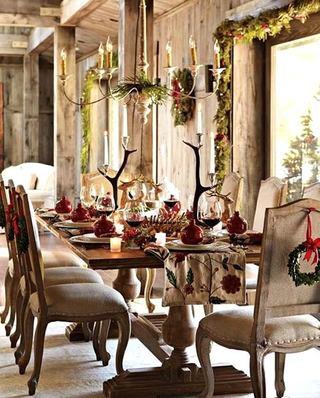 别墅圣诞节餐厅布置图片