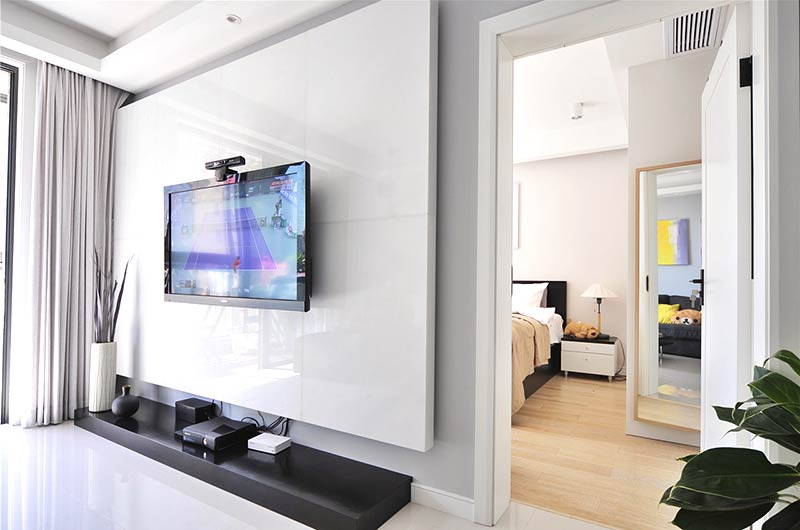 90平北欧风格小公寓石材电视背景墙图片