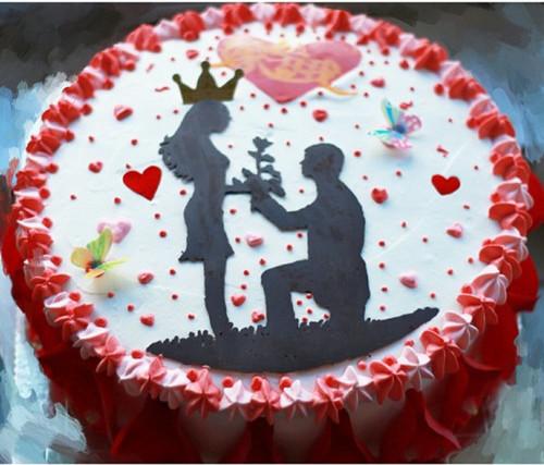 爱之婚礼蛋糕_订婚蛋糕图片-90后订婚蛋糕图片浪漫-创意蛋糕图片2017新款-单层 ...