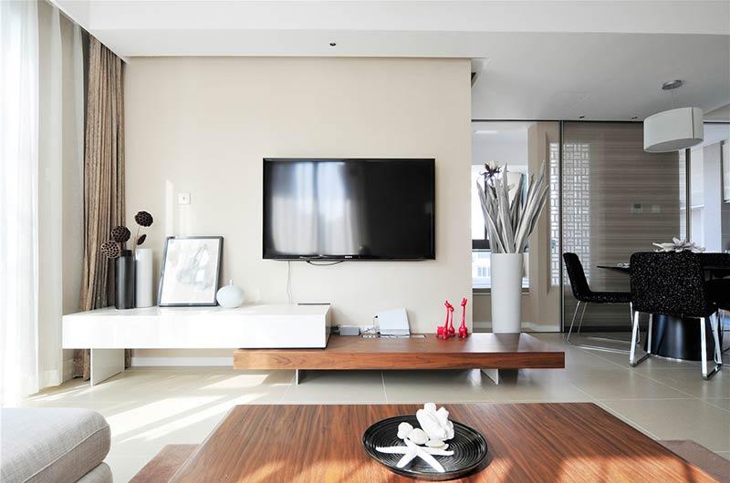 120平简约三居电视背景墙设计