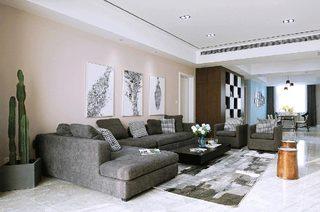 209平简约三居客厅装修效果图