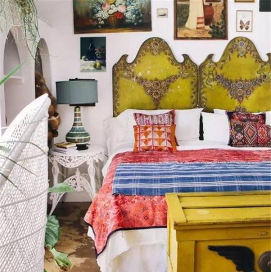 民族风卧室床头背景图片