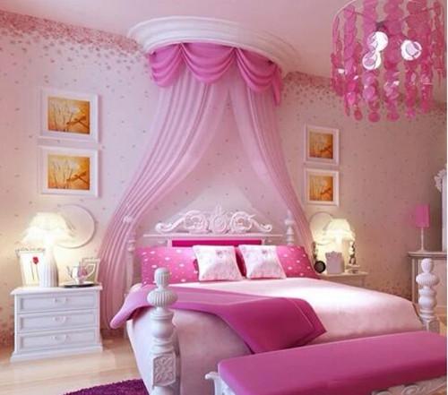 少女卧室装修效果图 粉嫩女孩闺房养成记图片