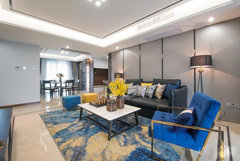 150平简约三居客厅茶几地毯