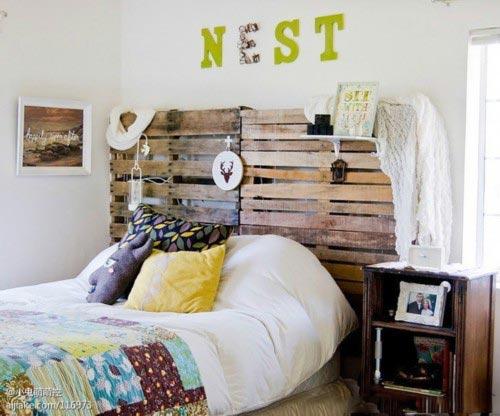 森系卧室床头背景效果图