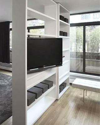 电视背景墙镂空隔断柜设计