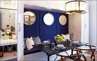 蓝色系餐厅卡座设计平面图