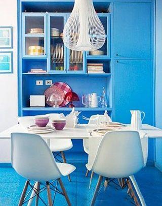 蓝色系餐厅背景墙图片大全