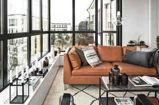 北欧风格公寓真皮沙发图片