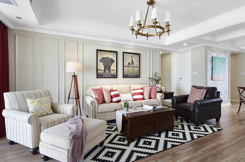 160平美式风格四居沙发背景墙装修