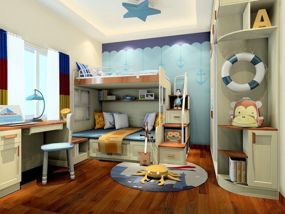 小孩卧室装修效果图 儿童房布置精巧设计