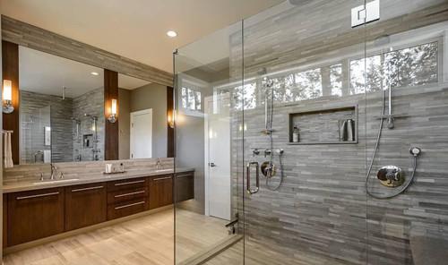 浴室装修别有一番风味  如图所示,这是一款独到的曲线设计,真是创意