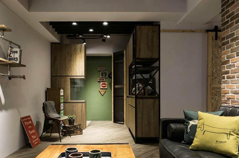 70平loft风格公寓玄关隔断装修图