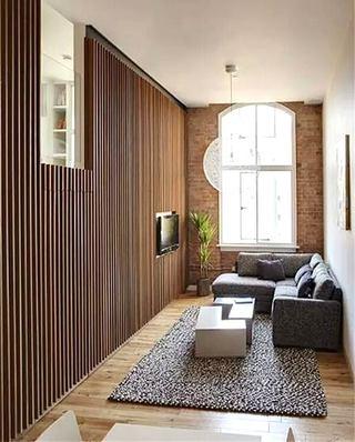 小户型客厅木质电视背景墙