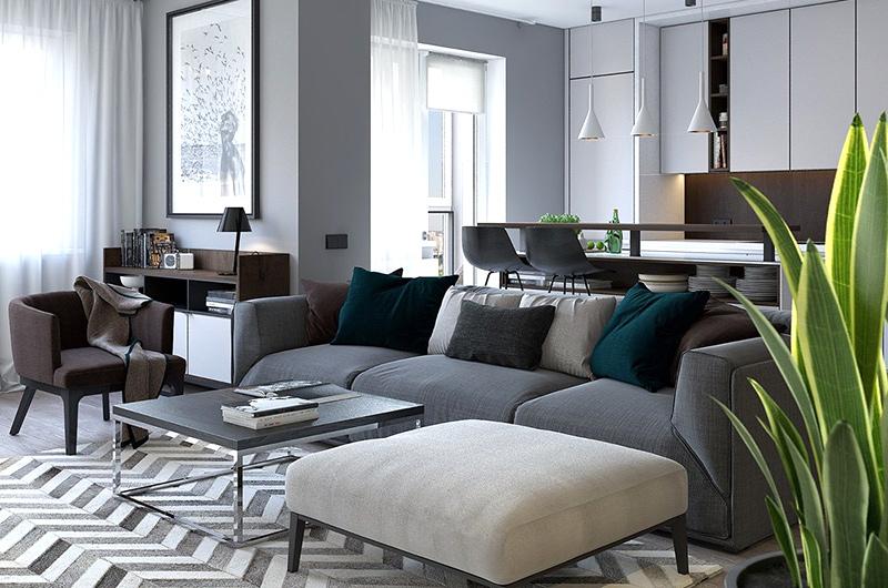 简约风格样板房客厅茶几地毯图片