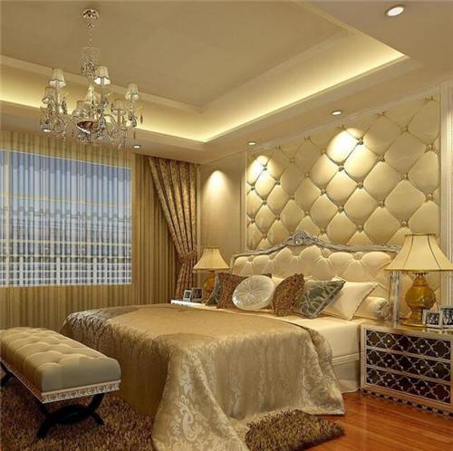 床头背景软包效果图 舒适床头软包让你想睡在墙上