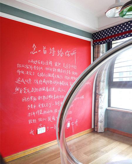 135平美式风格三居手绘背景墙
