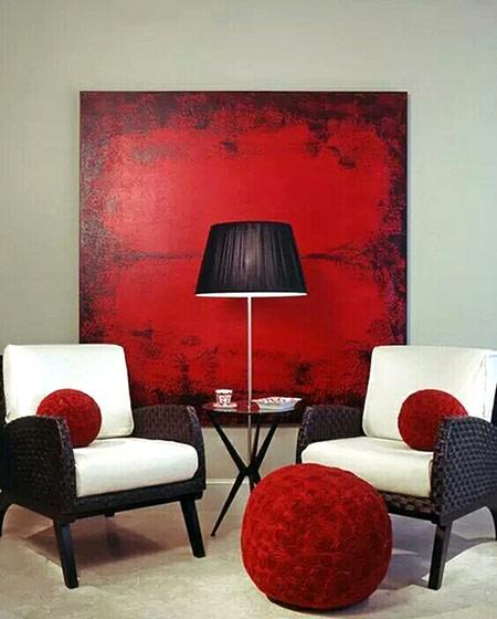 红色客厅沙发背景墙装修图