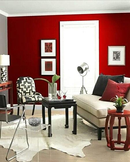 红色客厅背景墙设计图片