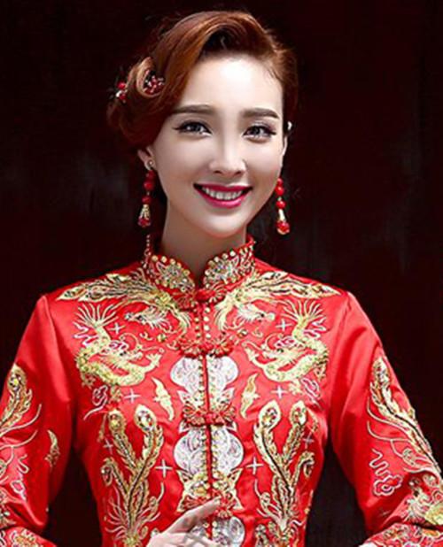 资讯 婚庆百科 新娘造型 正文  新娘经典中式发型100例:倒三角脸型图片