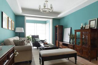 86平美式风格三居客厅电视柜图片