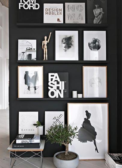 黑色系客厅背景墙图片