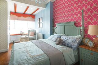 143平美式四居室卧室壁纸图片