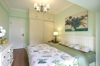 78平美式风格二居卧室床品图片
