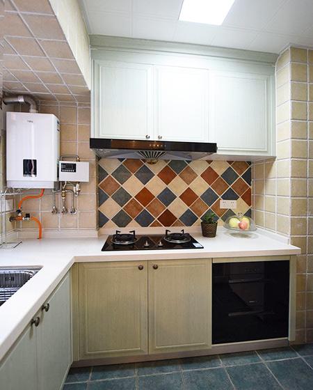 78平美式风格二居厨房实景图