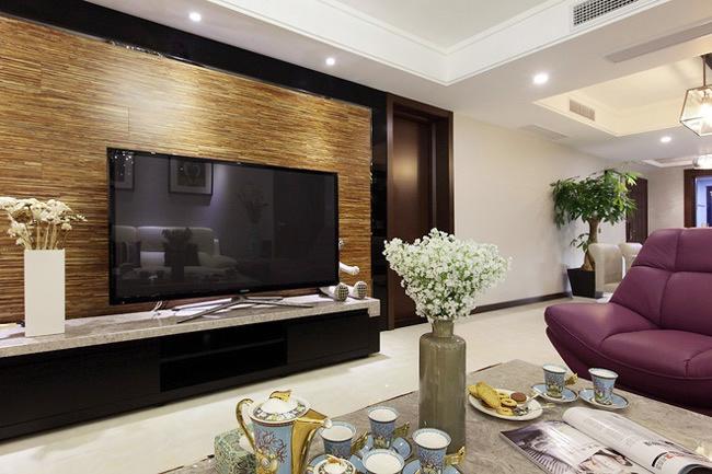 客厅木质电视背景墙装修