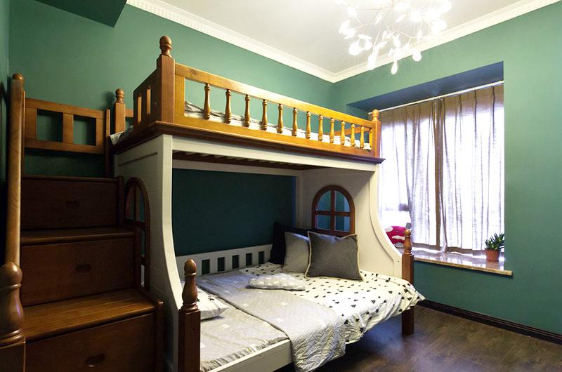 105平简约三居儿童房高低床图片