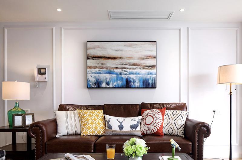 140平美式风格四居真皮沙发图片