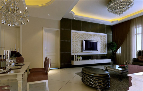 电视背景墙采用米黄色的花纹瓷砖来装饰,与整体空间融合得相当完美,在