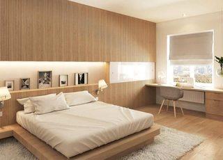 木质卧室条纹背景装修装饰效果图