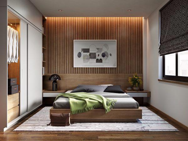 木色卧室条纹背景设计实景图