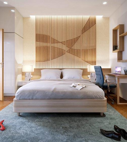 简约卧室条纹背景设计装修图