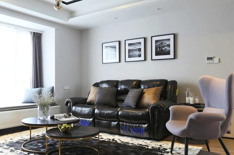 132平三房两厅装修真皮沙发图片