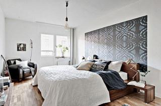 北欧风格一居室装修卧室壁纸图片